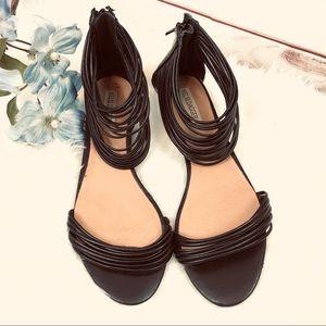 KELSI DAGGER strappy black gladiator sandals sz 8